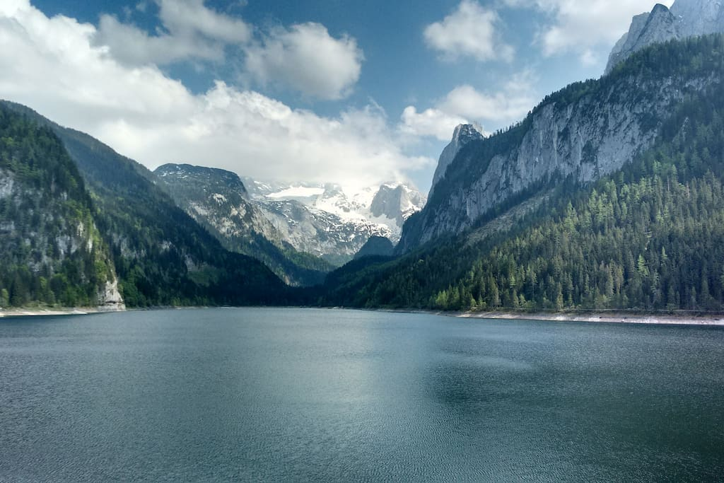 The Vorder Gosausee and Dachstein glacier in summer