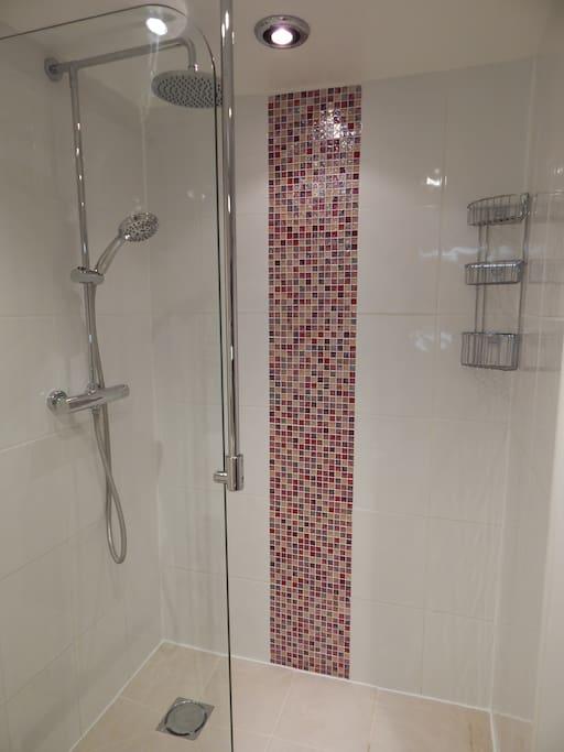 Ensuite Wet room, underfloor heating, waterfall shower