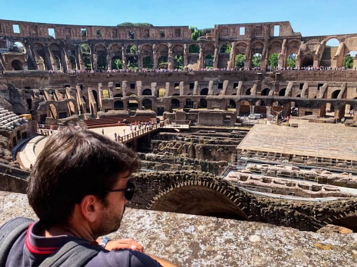 The arena of the colosseum and the undergrounds