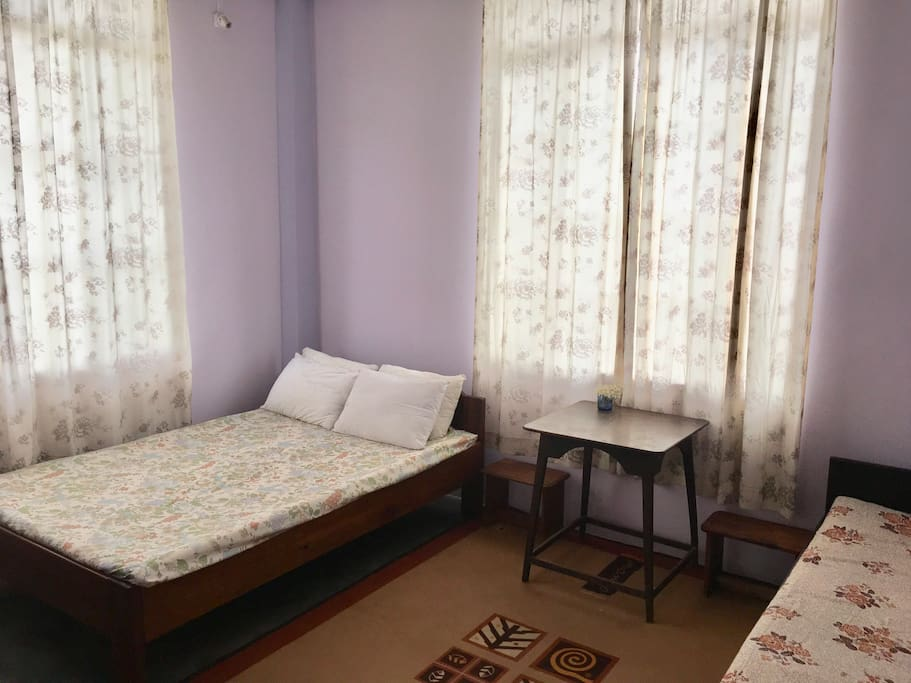 Room 1.  Double Bed/ table/ cabinet/ heater/ bathroom/ mirror/ hanger @ INR 2500