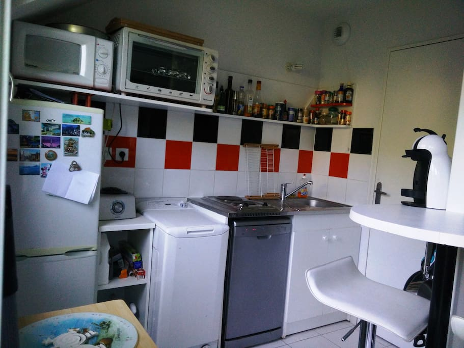 La cuisine avec lave-vaisselle, micro-ondes, four, machine à café Dolce Gusto, etc...