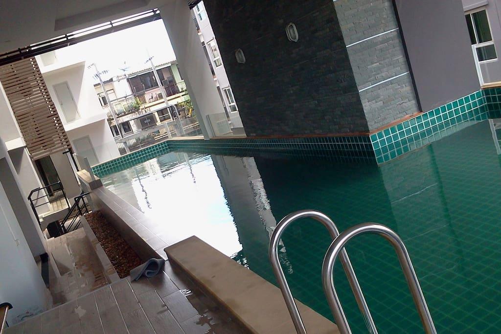 Quite long swimming pool.