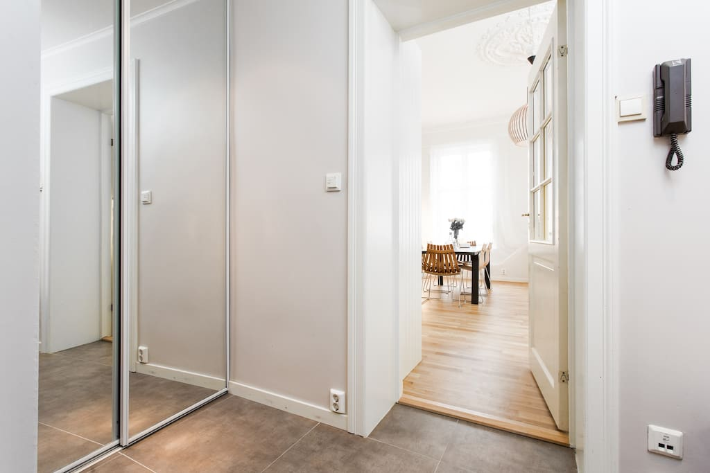 Entrance with heated floor and storage space.