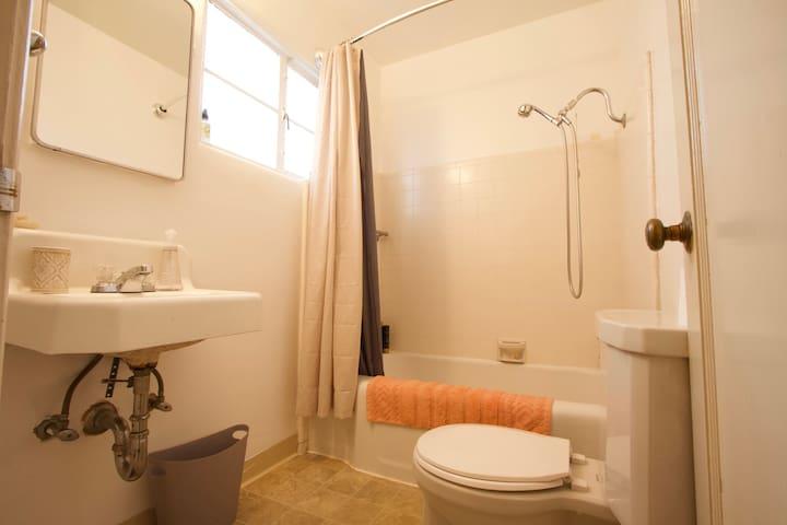 Bathroom with bathtub shower