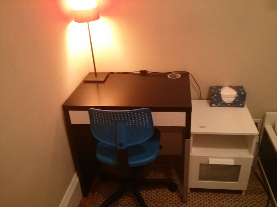 New and improved with a desk in the room for business people to work at!