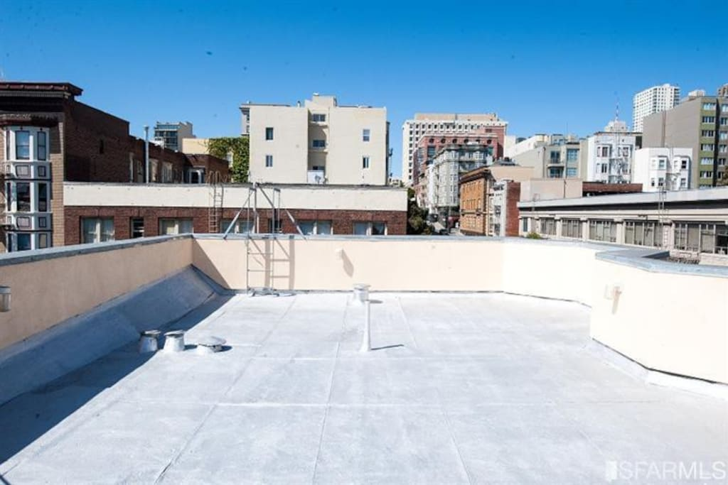 Our rooftop terrace:  enjoy a view of downtown San Francisco while toasting to your new adventure.
