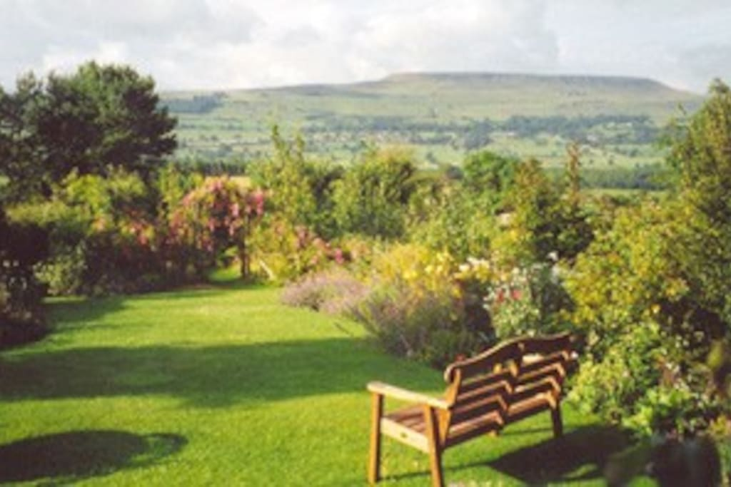 The view of Pen Hill from the cottage garden in summer