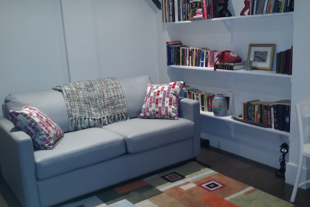 Bedroom with silver American Leather Sofabed