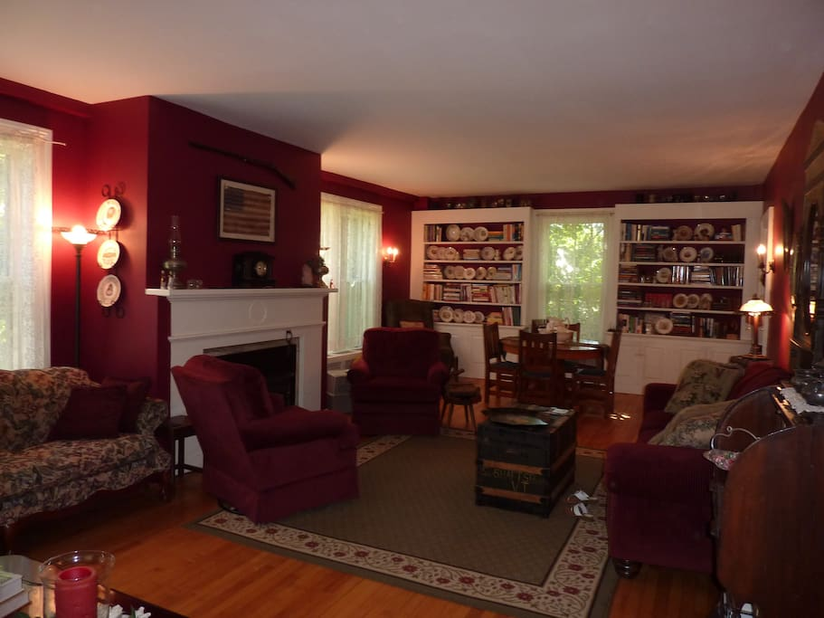 The living room and library.