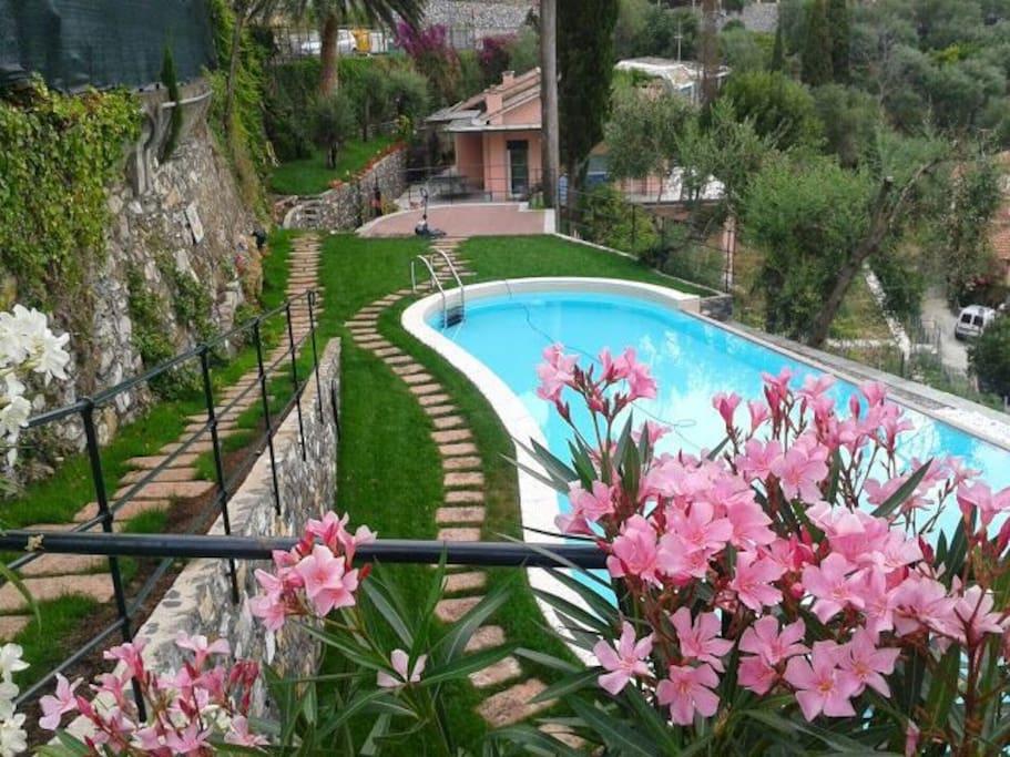 Vista piscina dal parcheggio.