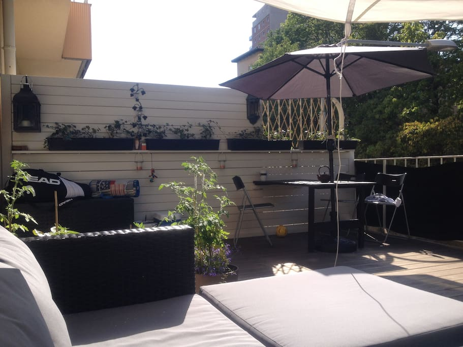 The LOVELY terrace, sun from 2pm - 7 pm. (on sunny days of course)