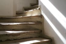 THE STAIRS UP TO THE APARTMENT