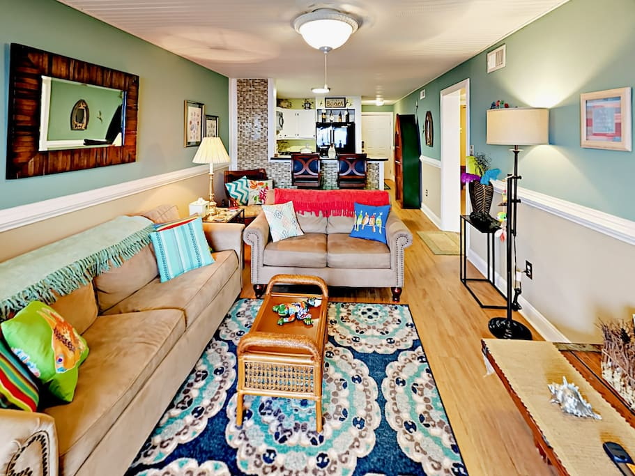 There's an inviting, homey feel throughout the condo.