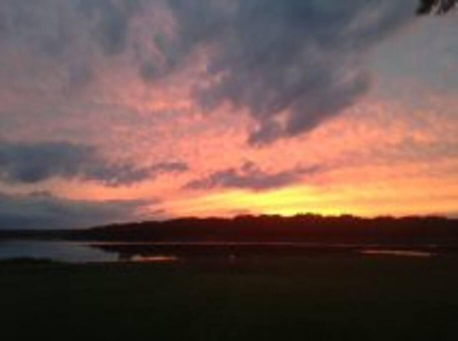 Beautiful dramatic sunset on the Mohawk River