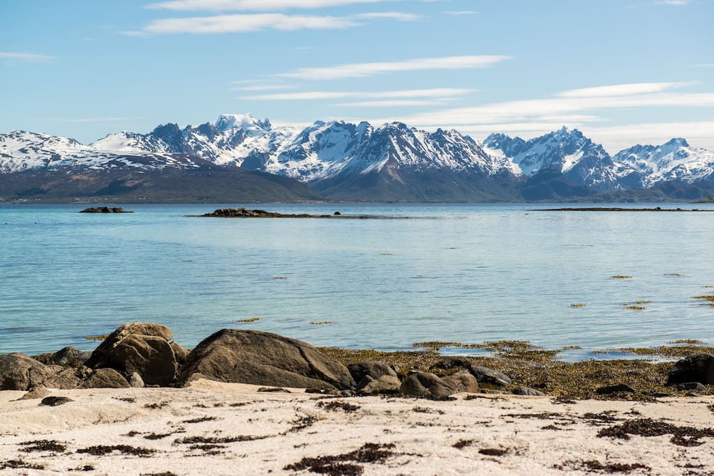 Møysalen, the highest mountain in Lofoten and Vesterålen. The view from the secluded beach by the house.