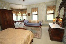 Vintage daybed and antique furnishings, TV/DVD