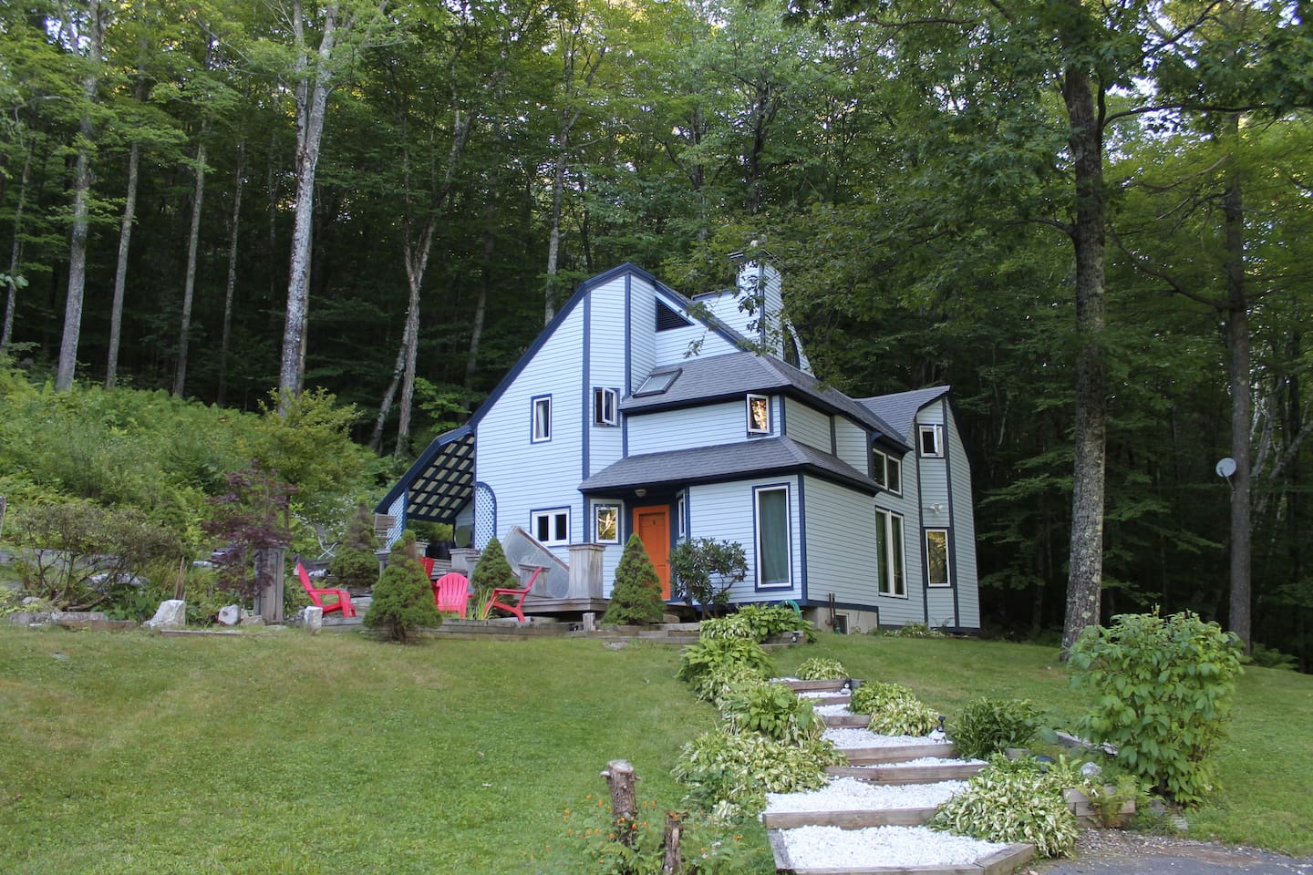 Nestled in the Green Mountains of Southern Vermont, with mountain and pond views.