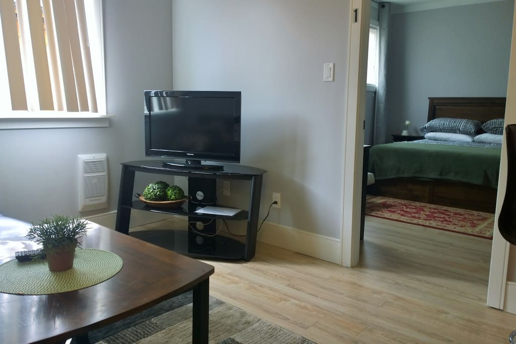 Living Area with Flat Screen TV. Clean, clean, clean.