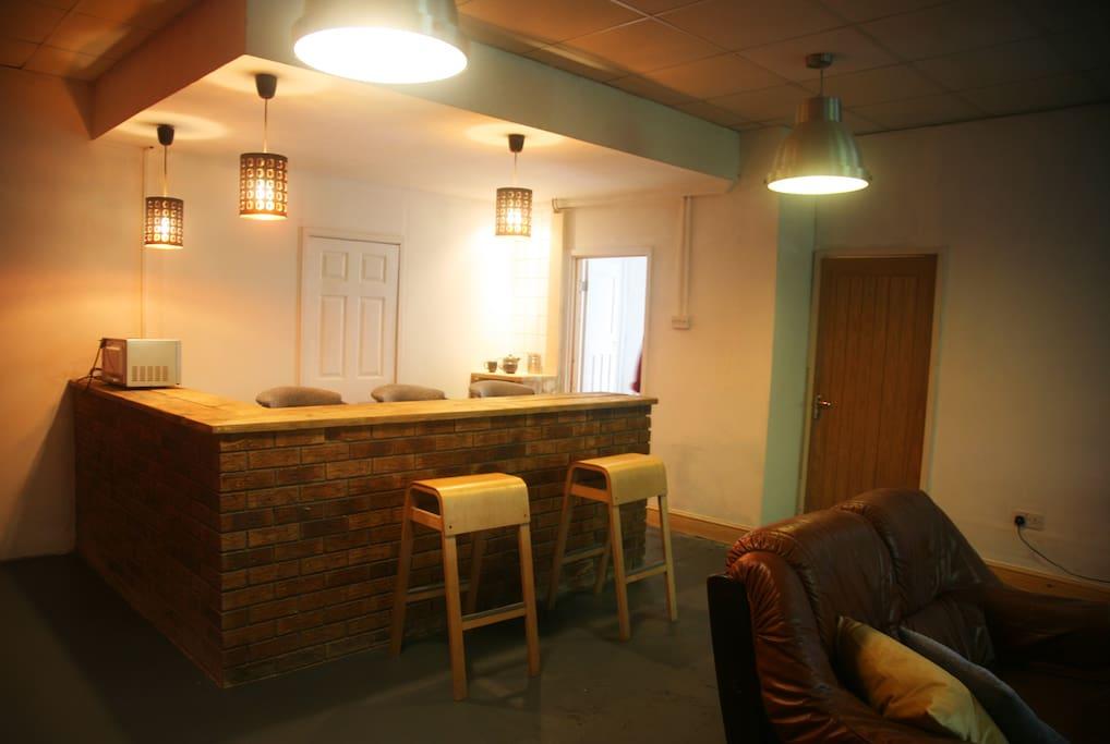 Open plan kitchen/lounge area