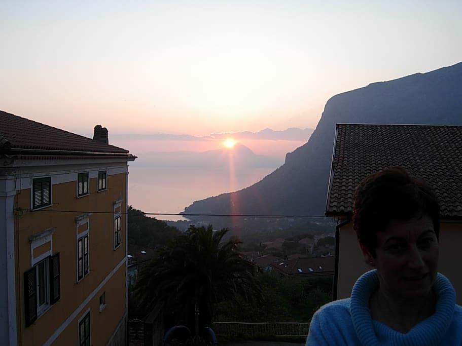 Terrazzo abitabile con tramonto