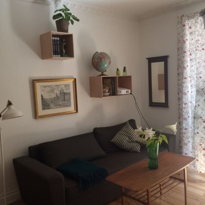 Nice big couch and lots of light