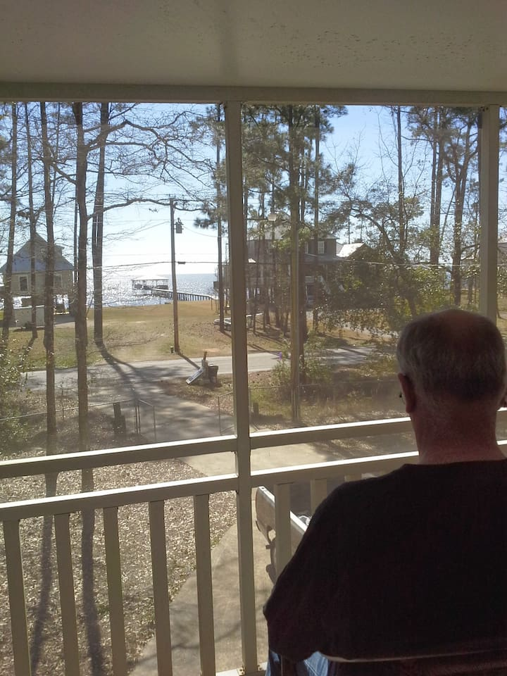 View of east  Mobile Bay, across the street. Sitting on the screened in porch.