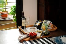 A traditional Spanish welcome with fresh local produce, cheese and wine