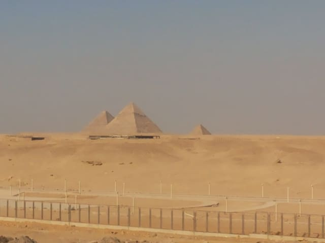 """Pyramids view from the balcony of the apartment.. Actual view"""""""