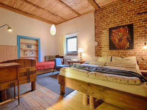 Rustic room with bathroom