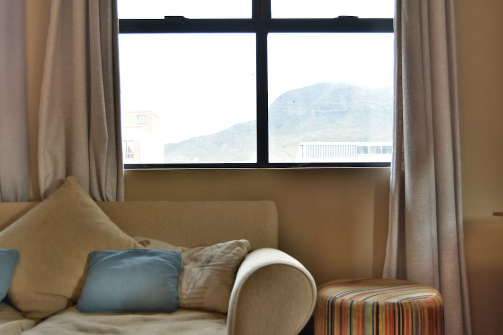 Views of Table Mountain from the living room and the bedroom