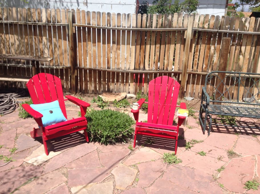 The sunny back patio is a great spot for lounging.