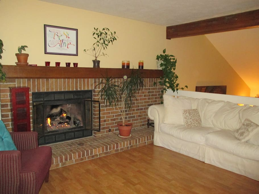 Cozy couch and fireplace