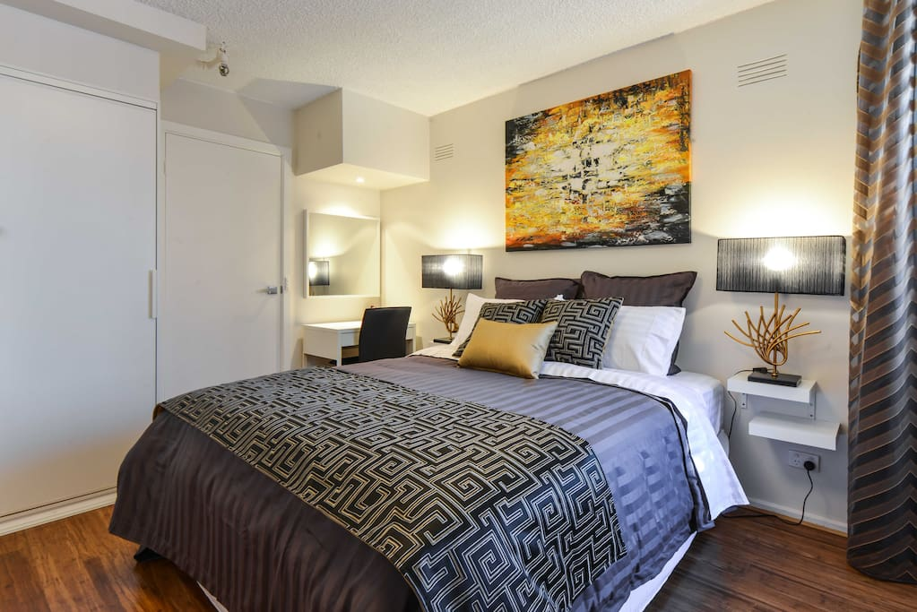 Bedroom in this  StayCentral CBD Vistas serviced apartment