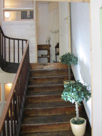 one half a flight of stairs up to the bed and breakfast level of our family house