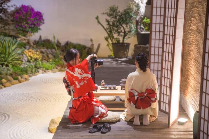 近洱海•可以拍照的日式院子•免费提供和服 ·田园山景•双床榻榻米202 ·四天免费接站6天免费接机