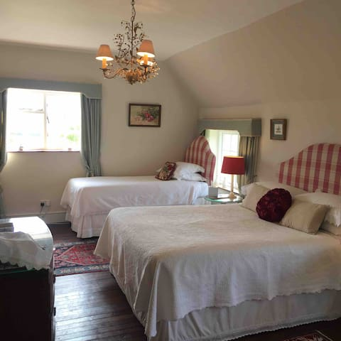 This is room 1 , the family room. It has a king size and a single bed , but has plenty of space for another single bed and/or cot. It has a delightful en suite bathroom .