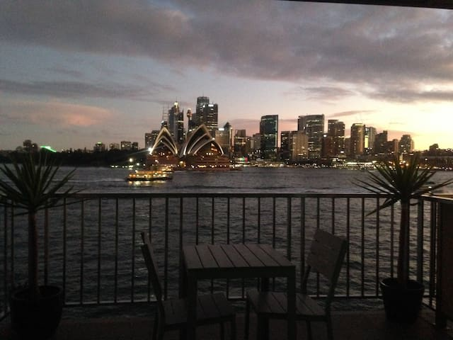 Great twilight views from the balcony of the Opera House and City