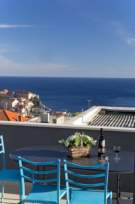 Terrace, sea, town..