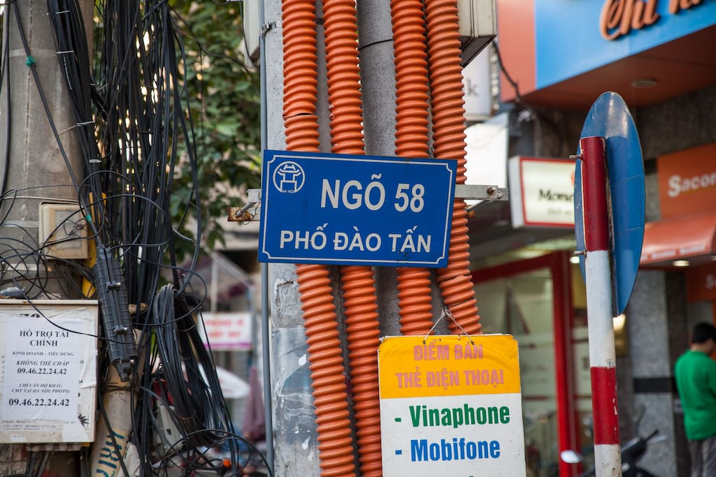 You will see this sign, it is Lane 58 Dao Tan street