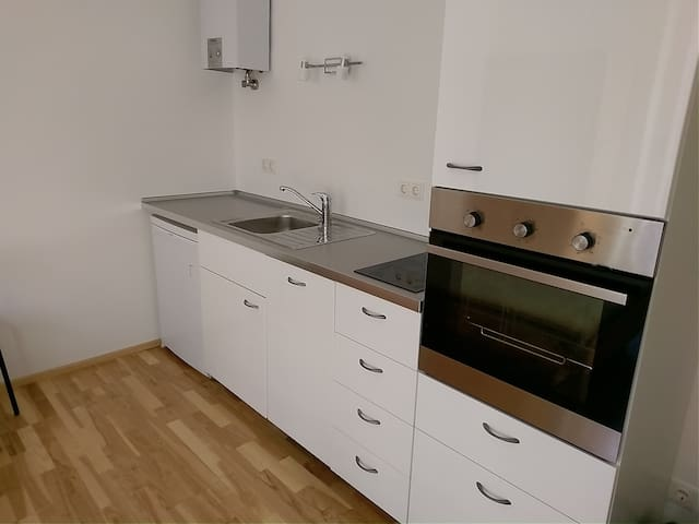 Kitchen with dishwasher, fridge with a small freezer and oven