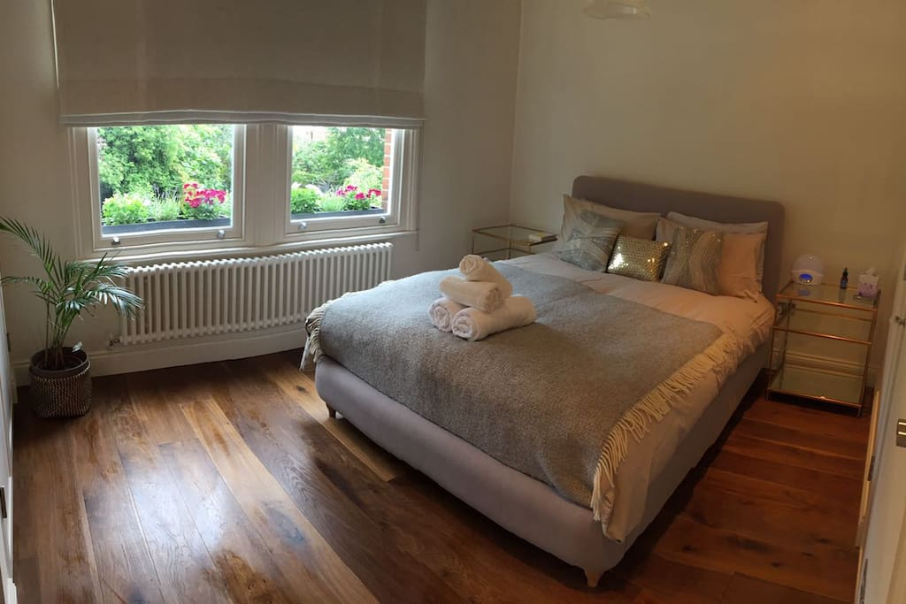 Large double bedroom built in wardrobe, full length mirror, TV, hairdryer and straighteners, Lumi alarm clock and heated blanket