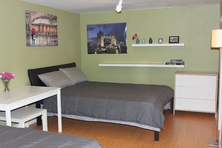 Stylish room,  Queen bed, private washroom/parking