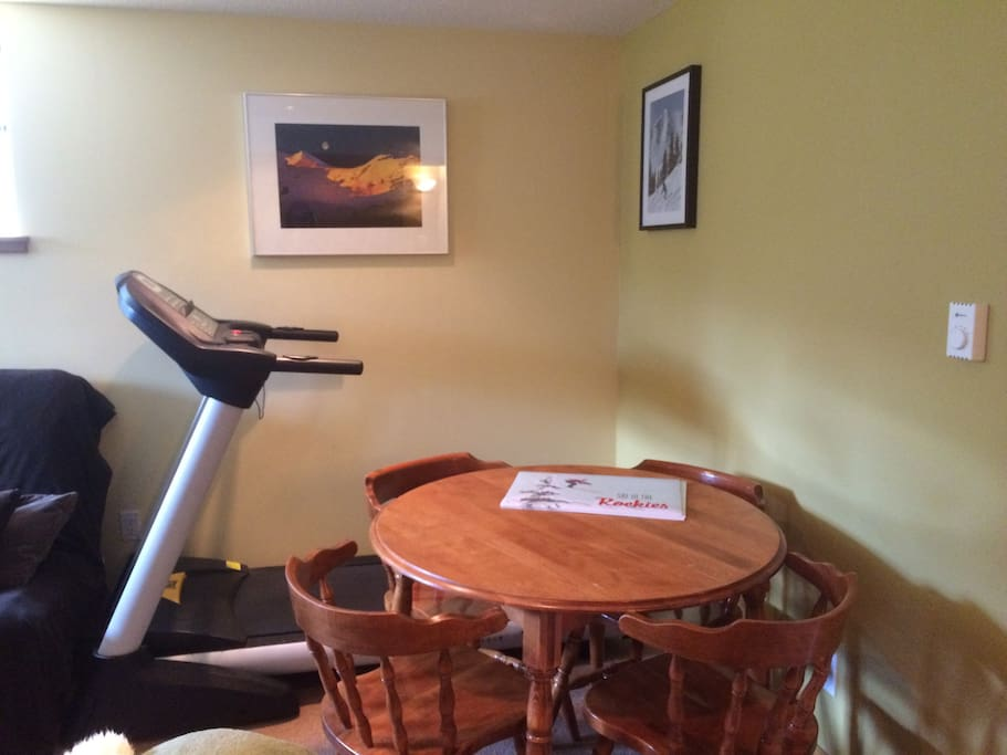 Dining area with treadmill