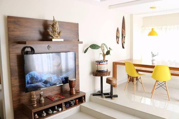 Cobertura 2 quartos e churrasqueira em Balneário