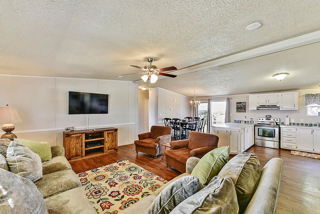 The living area is open concept