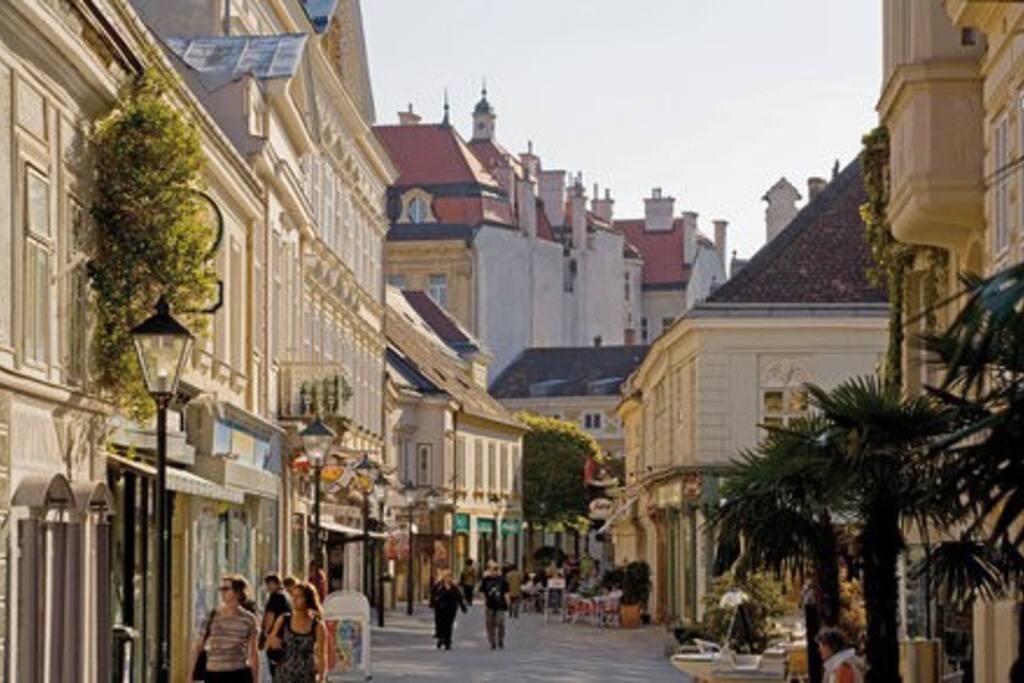 die Wohnung liegt inmitten der Fußgängerzone der Kaiserstadt Baden bei Wien