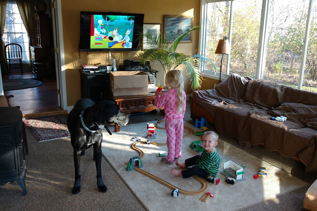 Kids and giant dog are NOT included.