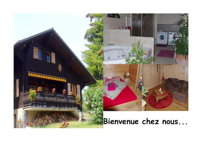Rez-de-jardin: jaccuzi, chambre, salon, terrasse - Nax - Ev