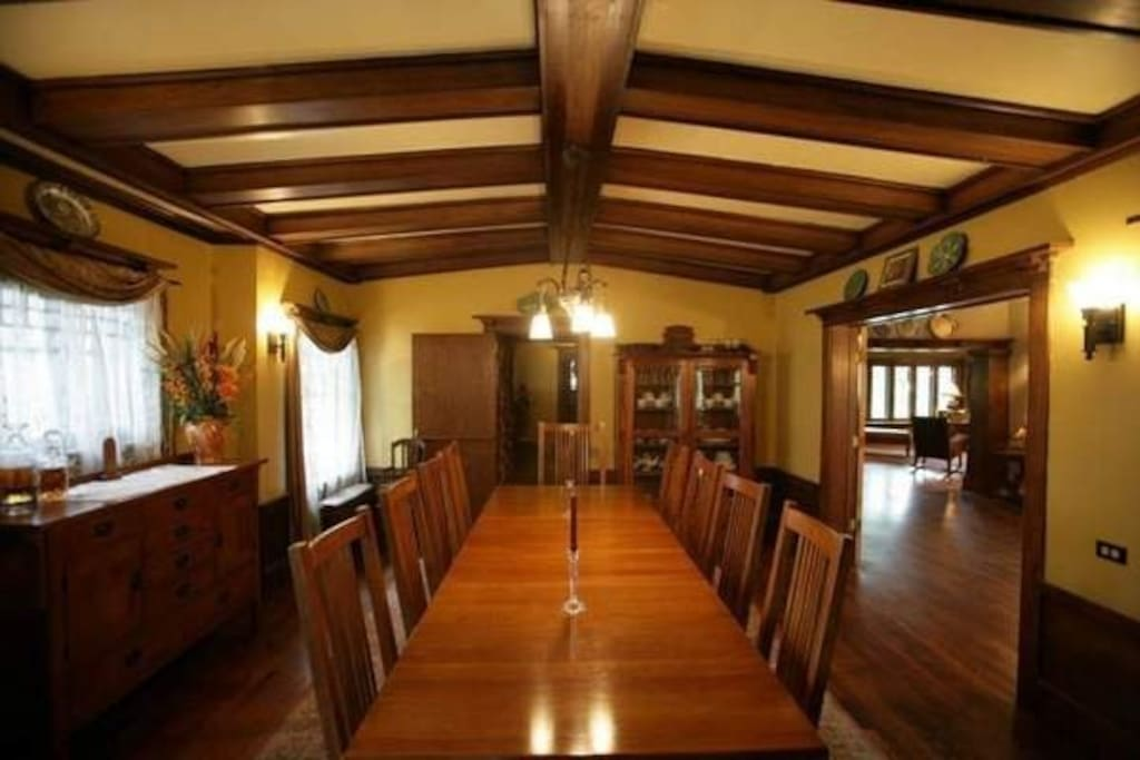Dining room with Arts and Crafts furniture.