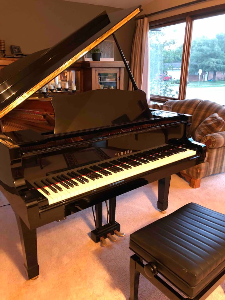 Guests are welcome to enjoy playing this beautiful grand piano!